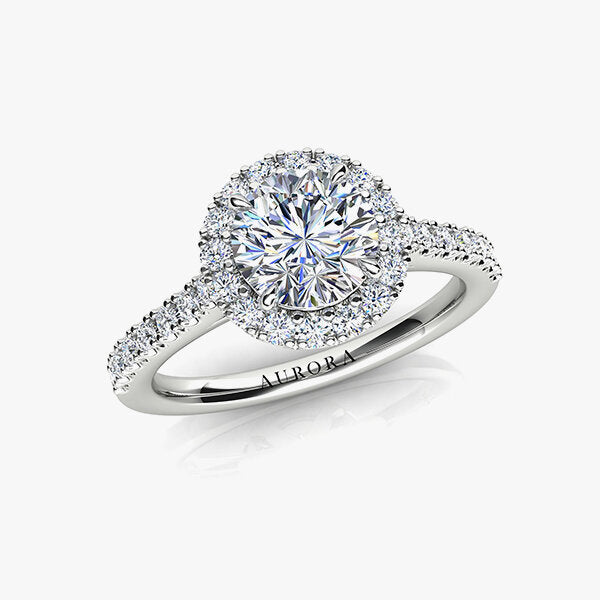 18ct 0.88ct Aurora®-Cut Diamond Halo Ring