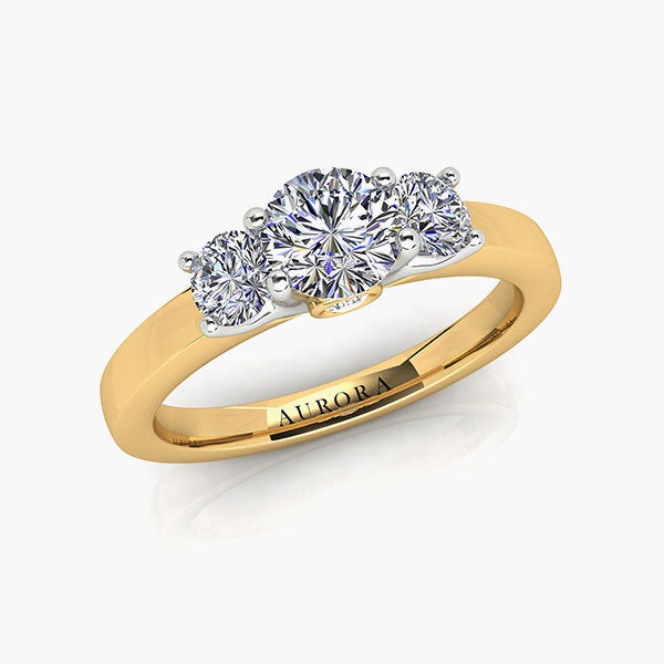 18ct 0.90ct Aurora®-Cut Diamond Trilogy Ring