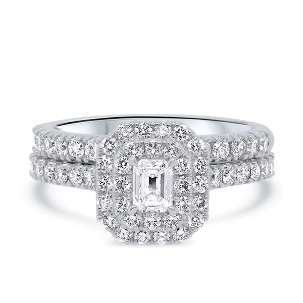 18ct Emerald-Cut Diamond Double Halo Ring