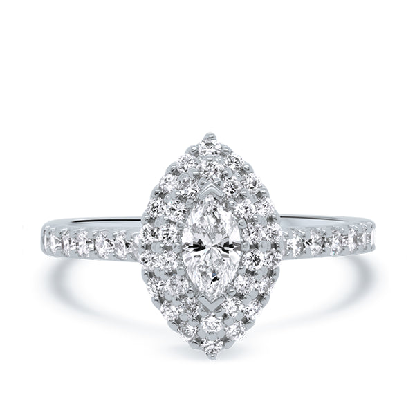 18ct Marquise Diamond Double Halo Ring