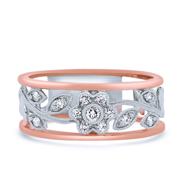 9ct Rose & White Gold Floral Diamond Ring