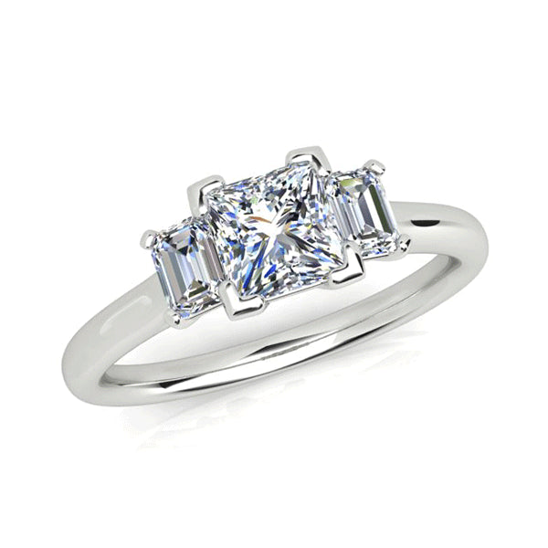 18ct Princess-Cut Diamond 1.30ct Trilogy Ring