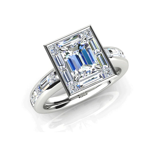 18ct Emerald-Cut Diamond 1.85ct Geometric Ring
