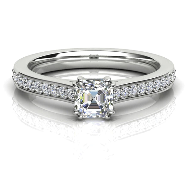 18ct Asscher-Cut Diamond Accent Ring