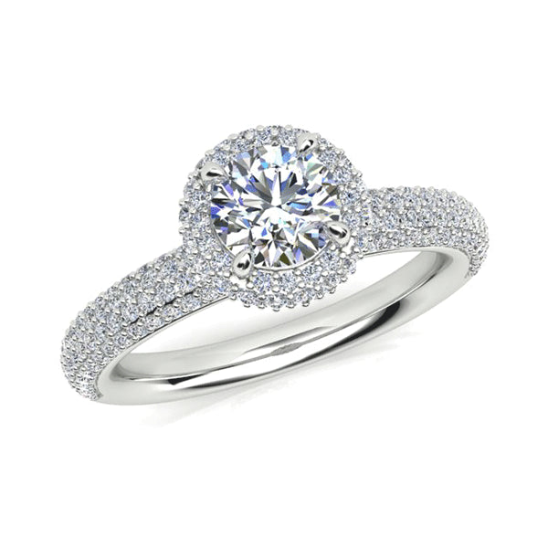 18ct French Pave Diamond Halo Ring
