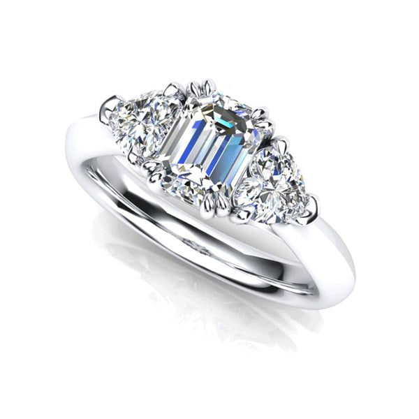 18ct Emerald-Cut & Heart-Shape Diamond Trilogy Ring
