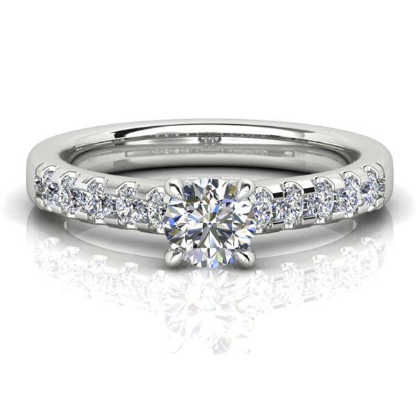 18ct Classic Diamond Accent Shoulders Ring