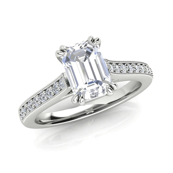 18ct Emerald-Cut Diamond Vintage-Inspired Ring