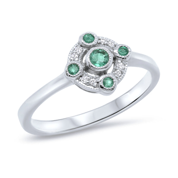 9ct Natural Emerald & Diamond Ring