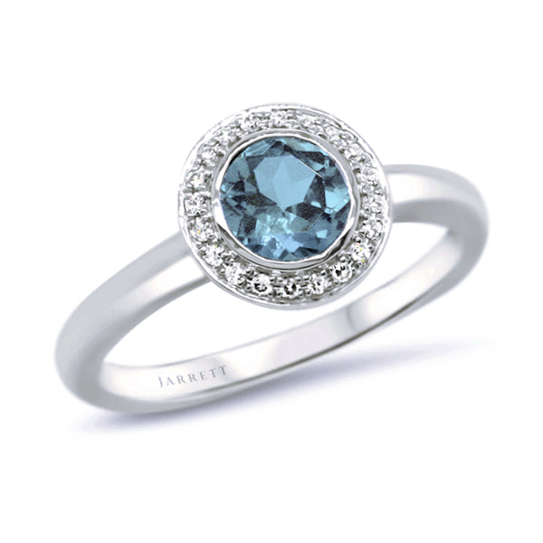 18ct Natural Aquamarine & Diamond Ring