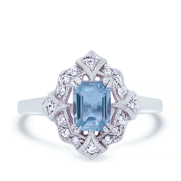9ct Vintage-Inspired Blue Topaz & Diamond Ring