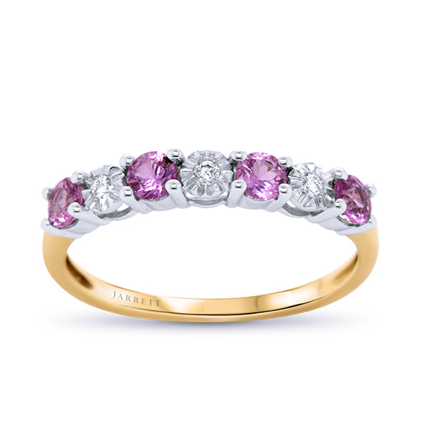 18ct Natural Pink Sapphire & Diamond Band