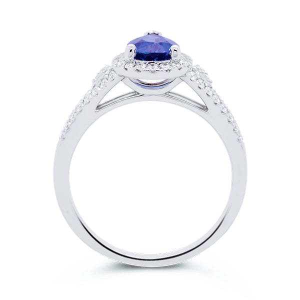18ct Unheated Ceylon-Blue Sapphire & Diamond Ring