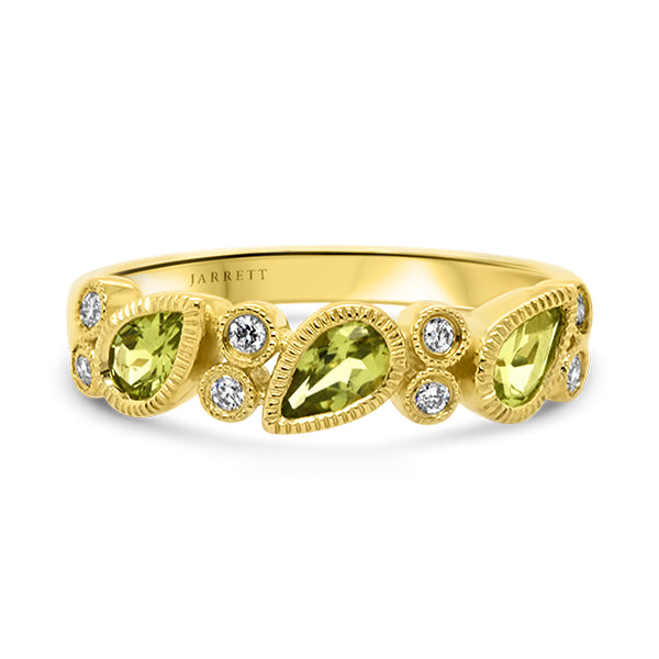 9ct Vintage-Inspired Natural Peridot & Diamond Band