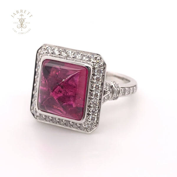 18ct Cabochon Rubelite Tourmaline & Diamond Ring