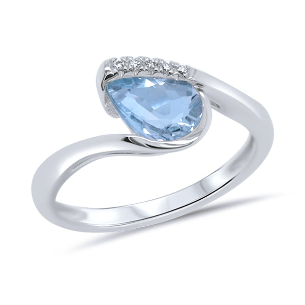 9ct Pear-shape Aquamarine & Diamond Ring