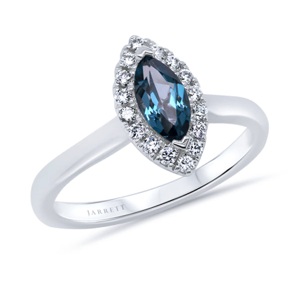 9ct Marquise London-Blue Topaz & Diamond Ring