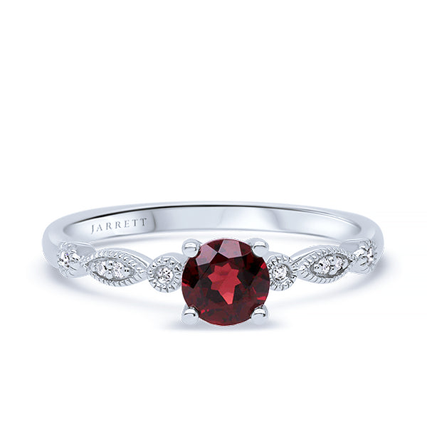 9ct Natural Garnet & Diamond Ring