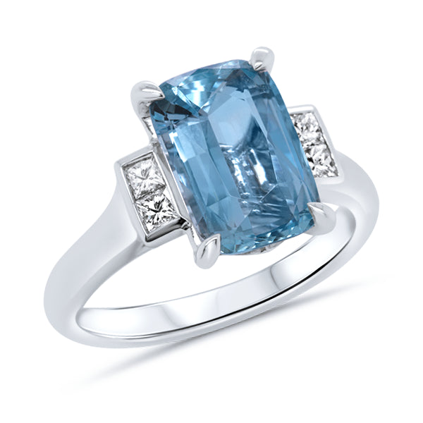 18ct Cushion-Cut Natural Aquamarine & Diamond Ring