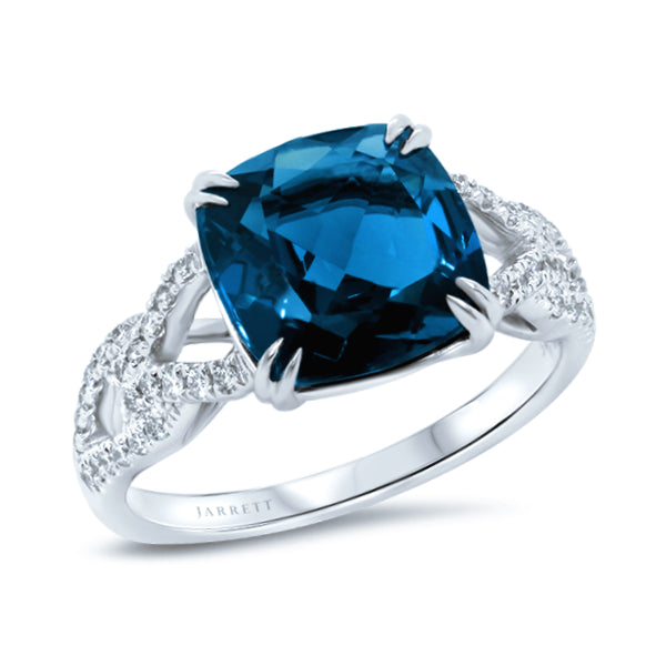 9ct London-Blue Topaz & Diamond Ring
