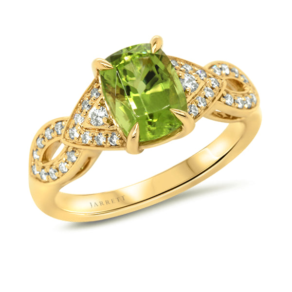9ct Natural Peridot & Diamond Ring