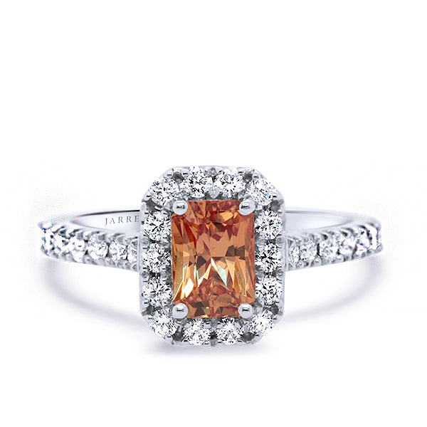 18ct Natural Orange Sapphire & Diamond Ring