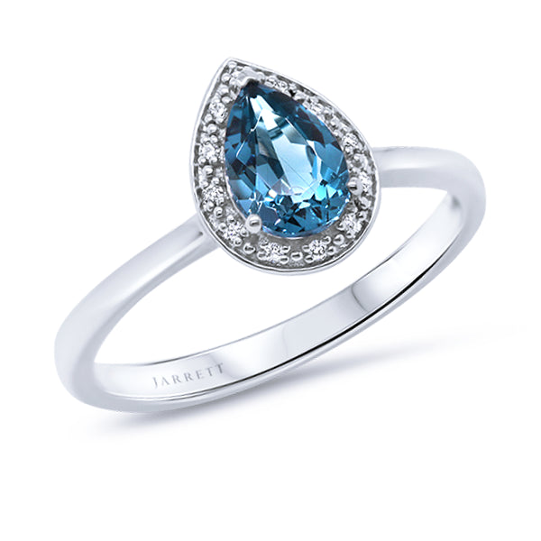 9ct Pear London-Blue Topaz & Diamond Ring