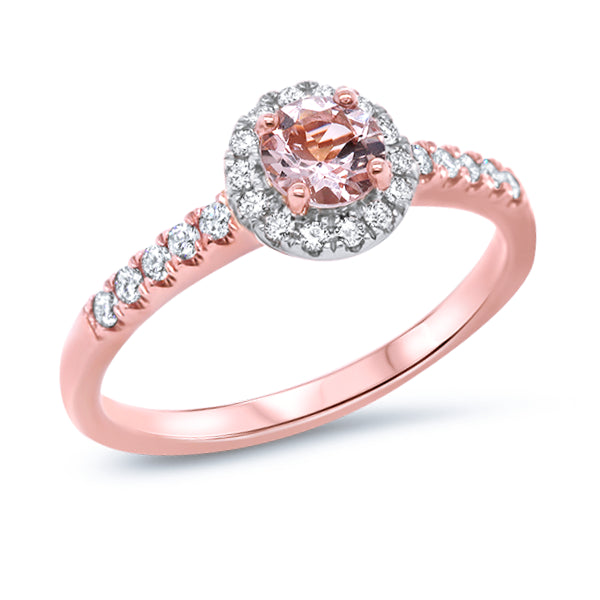 9ct Natural Morganite & Diamond Ring