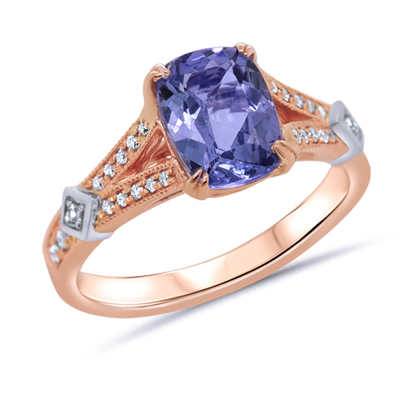 18ct Cushion-Cut Tanzanite, Grey Spinel & Diamond Ring