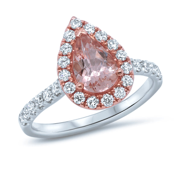 18ct Pear-cut Morganite & Diamond Ring