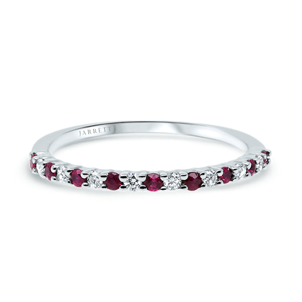 9ct Natural Ruby & Diamond Band