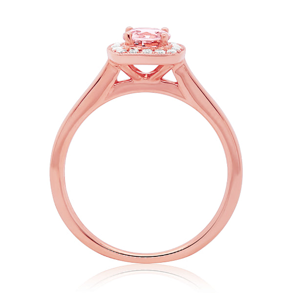 18ct Natural Morganite & Diamond Ring