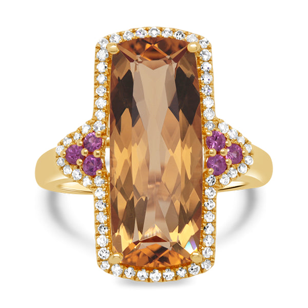 9ct Natural Citrine, Pink Sapphire & Diamond Ring