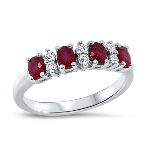 18ct Natural Oval Ruby & Diamond Ring