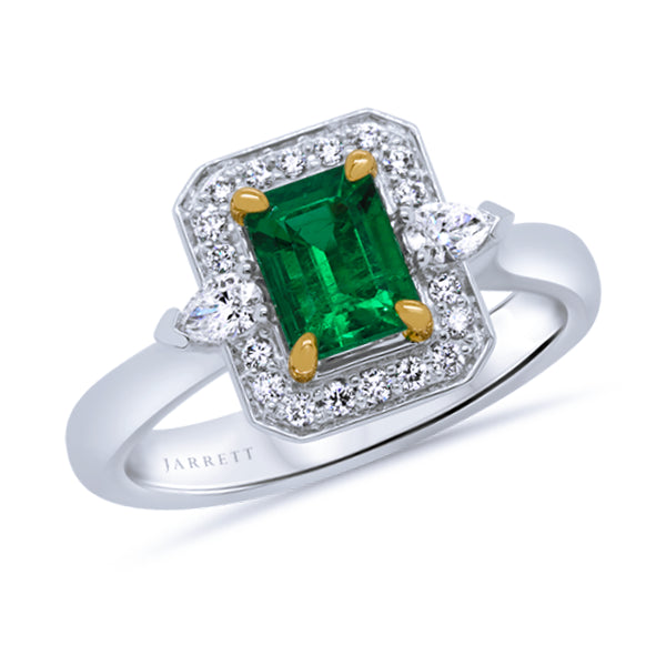 18ct Natural Columbian Emerald & Diamond Ring