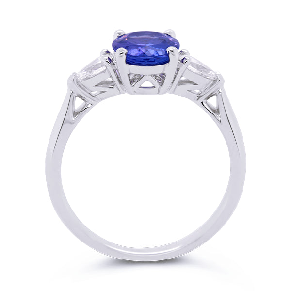18ct Oval Tanzanite & Pear-Shape Diamond Ring