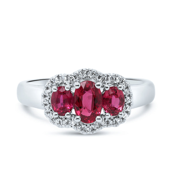 18ct Natural Ruby & Diamond Trilogy Ring
