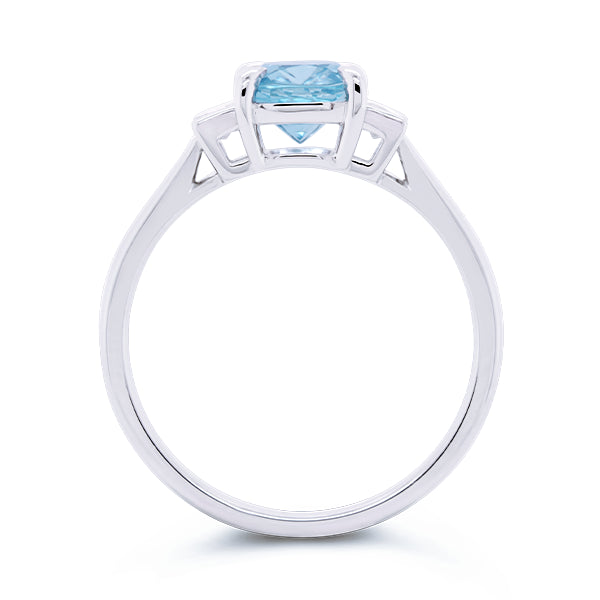 9ct Cushion-Cut Aquamarine & Diamond Ring