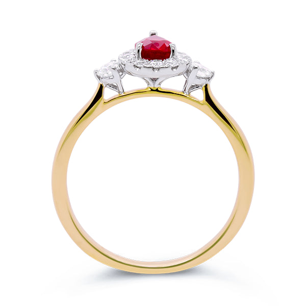 9ct Pear-Shape Ruby & Diamond Ring