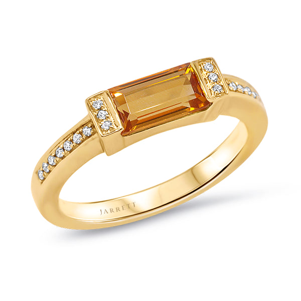 9ct Natural Citrine & Diamond Ring