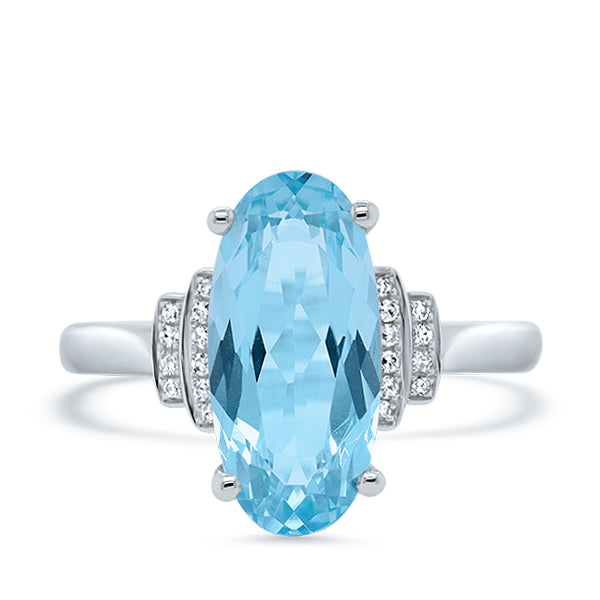 9ct Oval Blue Topaz & Diamond Ring