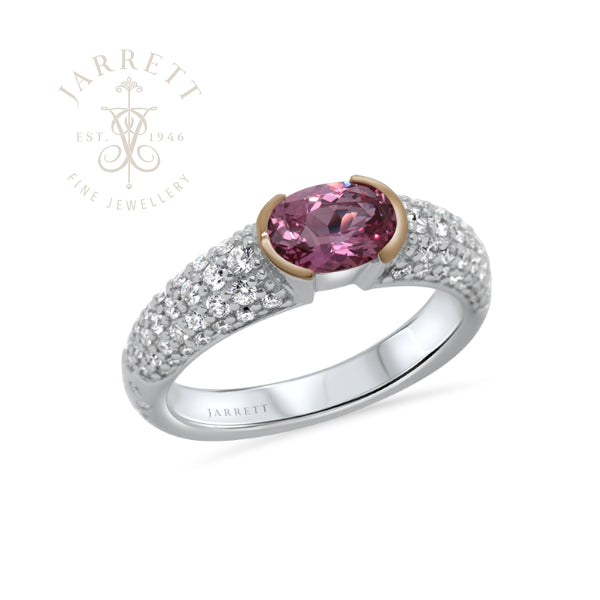 18ct Natural Pink Sapphire & Diamond Ring
