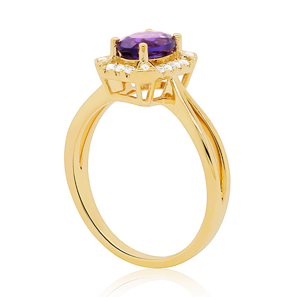 9ct Vintage-Inspired Amethyst & Diamond Ring