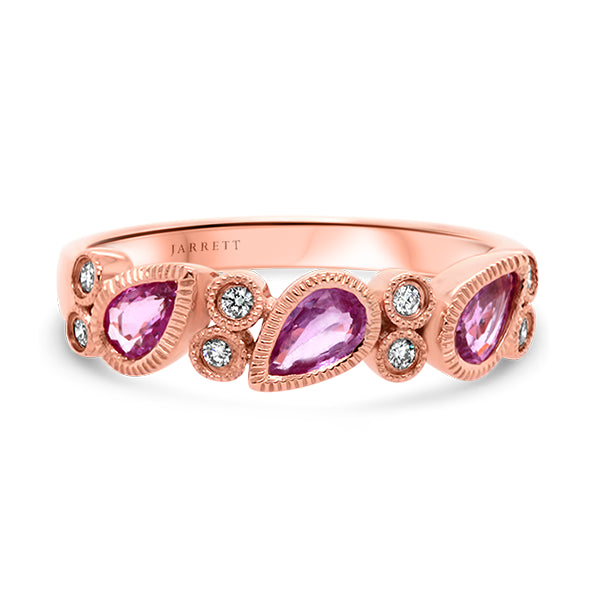 9ct Vintage-Inspired Natural Pink Sapphire & Diamond Band
