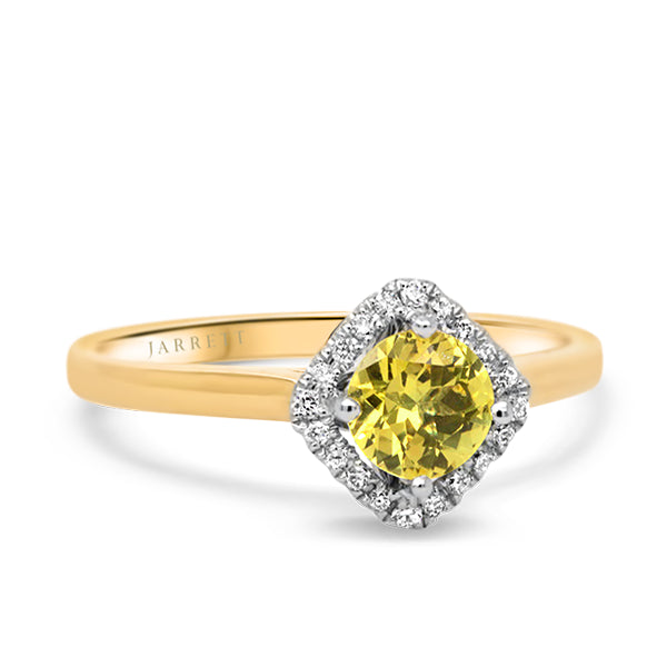9ct Yellow Sapphire & Diamond Ring