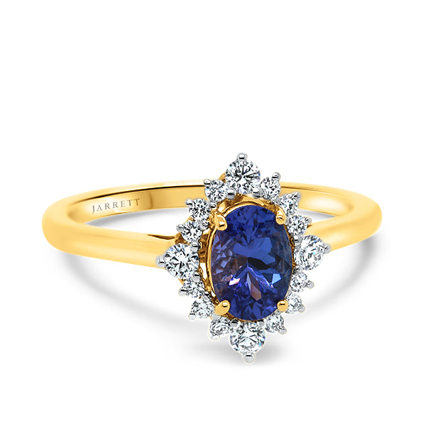 9ct Oval Tanzanite & Diamond Ring