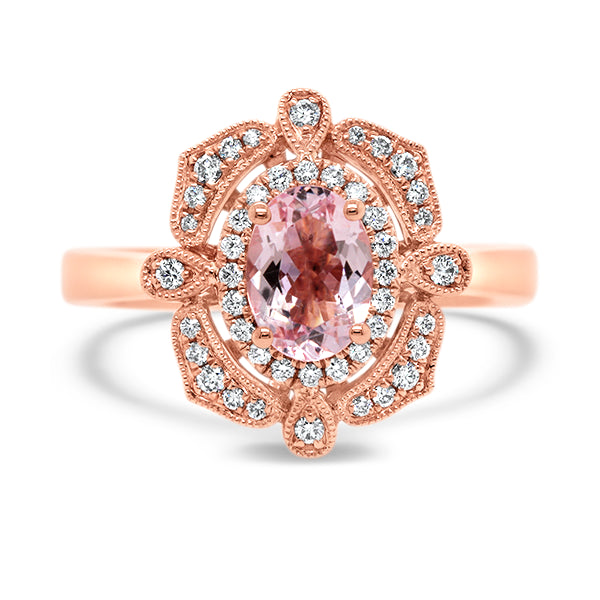 9ct Vintage-Inspired Morganite & Diamond Ring