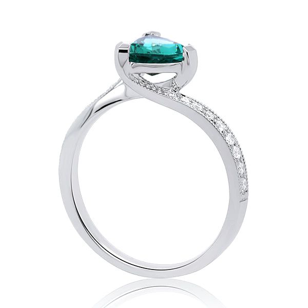 9ct Green Tourmaline & Diamond Ring