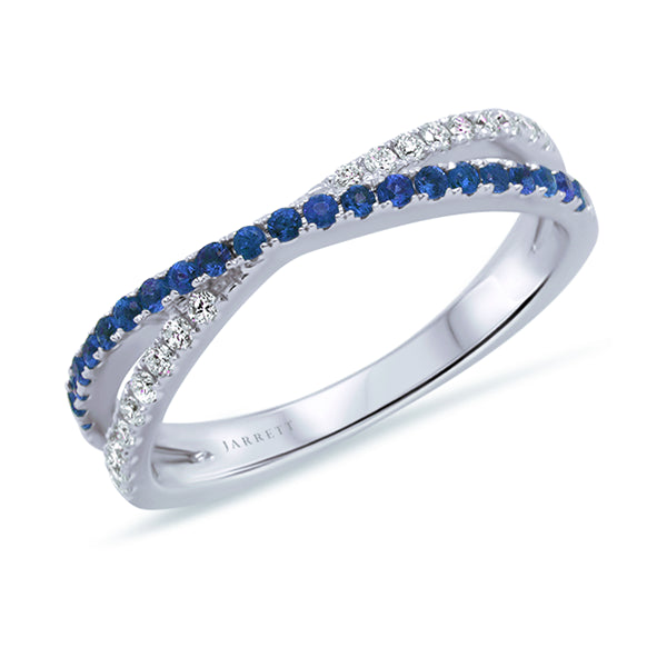 9ct Natural Sapphire & Diamond Crossover Band