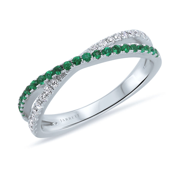 9ct Natural Emerald & Diamond Crossover Band
